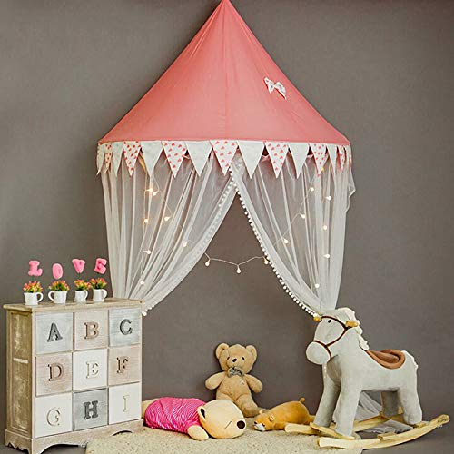 INFILM Princess Bed Canopy, Lace Crib Canopy Half-Round Dome Kids Play Tent Mosquito Net Children's Room Decorate for Baby Crib Nook Castle Nursery Play Room Decor