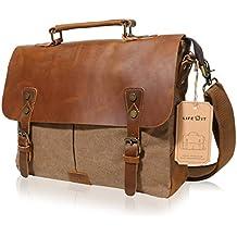 Lifewit 14-15.6 inch Laptop Messenger Bag Vintage Genuine Leather Canvas Briefcase Computer Satchel