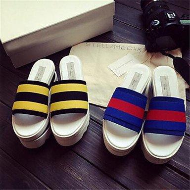 LvYuan Las nuevas estaciones europeas gruesa corteza sandalias de muffins hechizo color cuero sandalias y zapatillas palabra Blue