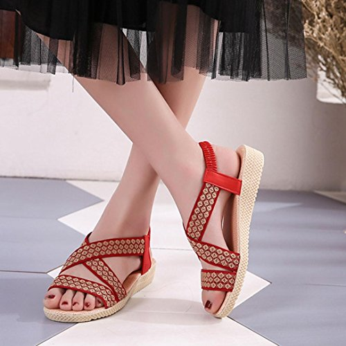Amlaiworld Ladies Sandals,Sexy Summer Ladies Women Sandals Fashion Cross Flat Roman Shoes Casual Shoes Red