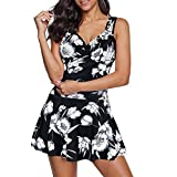 Zando Women One Piece Swimsuits Tummy Control Swim Dress Swimwear Slimming Skirt Swimsuits Bathing Suit Dress Flower Print Black 14-16 …