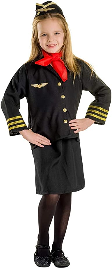 Stewardess Girls Costume Kids Airline Uniform Cabin Crew Fancy Dress Outfit