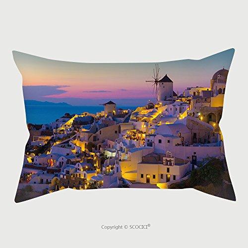 Custom Microfiber Pillowcase Protector Oia Sunset Santorini Island Greece 230898235 Pillow Case Covers Decorative