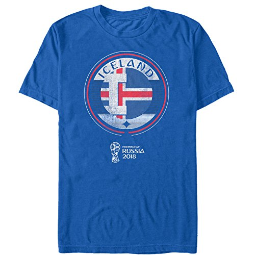 Fifth Sun FIFA World Cup Russia 2018 Men's Iceland Circle Royal Blue T-Shirt - Cup Slim Fit T-shirt