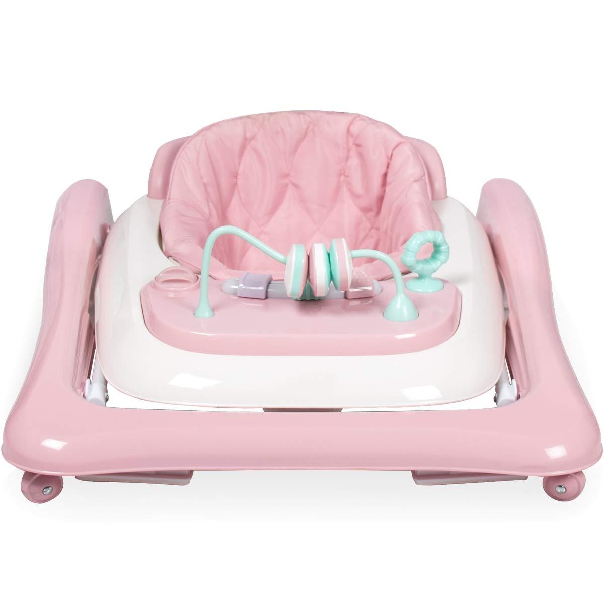 2IN1 Lauflernhilfe mit Spielcenter Gehfrei Baby Walker PINK