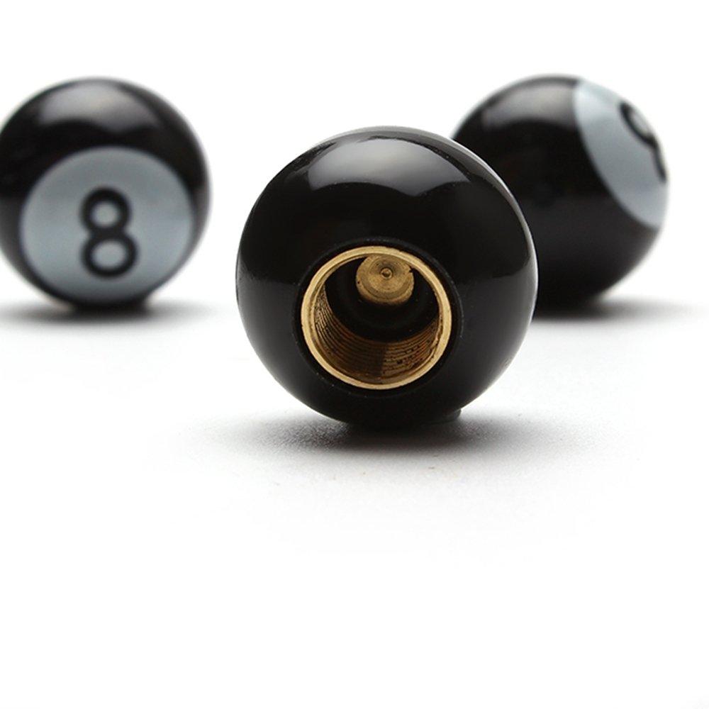 Itimo 4/pcs universel de voiture Pneu Bouchons de valve pour moto v/élos Roues jantes Noir No 8/Balles