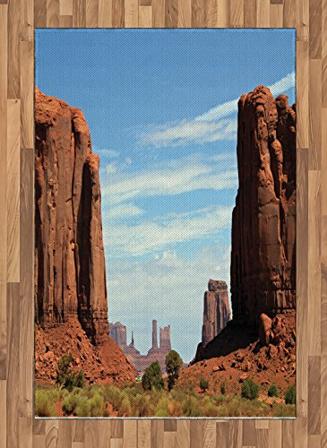 (Lunarable American Area Rug, United States Utah Colorado Plato The Mitten Butte Monument Valley Rocks Canyon Scenery, Flat Woven Accent Rug for Living Room Bedroom Dining Room, 4 X 5.7)
