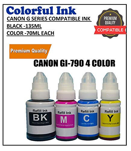 Colorful G Series Compatible (GI790) Refill Ink Bottles for G1000 G1010 G2000 G2002 G2010 G2012 G3000 G3010 G3012 G4000 G4010 Printers Black 135 and CMY 70 Ml Each -Set of 4