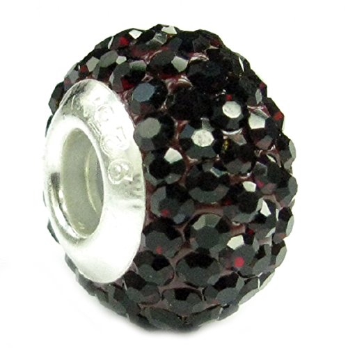 (Sterling Silve Simulated January Birthstone Round Deep Red Crystal Bead European Style Bead Charm)