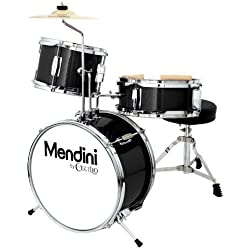 Mendini by Cecilio 13 Inch 3-Piece Kids / Junior Drum Set with Adjustable Throne, Cymbal, Pedal & Drumsticks, Metallic Black, MJDS-1-BK