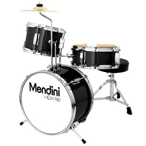 Mendini by Cecilio 13 inch 3-Piece Kids/Junior Drum Set with Throne, Cymbal, Pedal & Drumsticks, Metallic Black, MJDS-1-BK