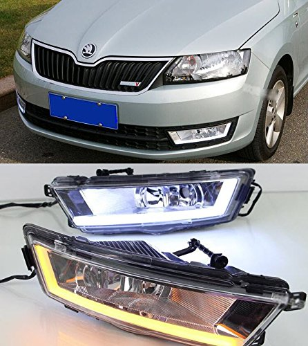 AupTech blanco DRL/amarillo intermitente luces de conducción diurna LED DRL Kit para Skoda Rapid