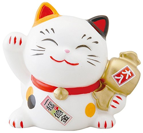 Tickets Cats (Yamako Pottery Happy Good Luck Beckoning Cat Figure w/Lottery Ticket Case Piggy Bank Size M SN-040)