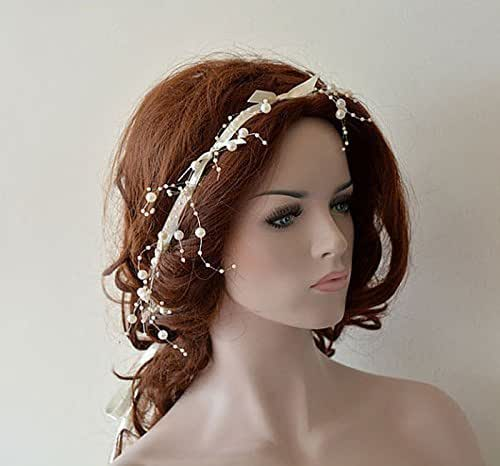 Wedding Hairstyle With Headband: Amazon.com: Wedding Pearl Headband, Pearl Tie Headband