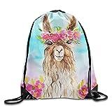 CUW BBCUW Cute Cartoon Animal Art Llama Alpaca Lover Novelty Drawstring Backpack Sport Sackpack For Men & Women School Travel Bag