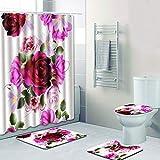 4PCS Rose Flower Shower Curtain Set Water Resistant Shower Bath Curtain Bath Rug Set Bathroom Shower Bathtub Non Slip Contour Mat & Toilet Lid Cover by Jessie storee, A
