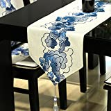 The hotel restaurant table runner dining room ling room table decoration cloth tassel chinese style-A 32x260cm(13x102inch)
