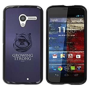 Caucho caso de Shell duro de la cubierta de accesorios de protección BY RAYDREAMMM - Motorola Moto X 1 1st GEN I - Crecer Fuerte - Funny Ewok