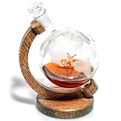Etched Globe Liquor Decanter - Scotch Whiskey Decanter - 1000ml Glass Decanter for Alcohol - Vodka, Bourbon, Rum, Wine, Tequila or Even Mouthwash - P51 Mustang (Prestige Decanters)