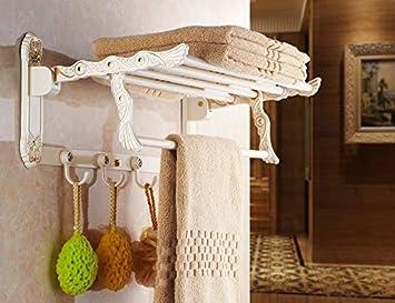 Joeesun Palacio de Buckingham retro Europa continental retro dorado y blanco doblado toallero toalla de baño estantería estante estante de metal: Amazon.es: ...