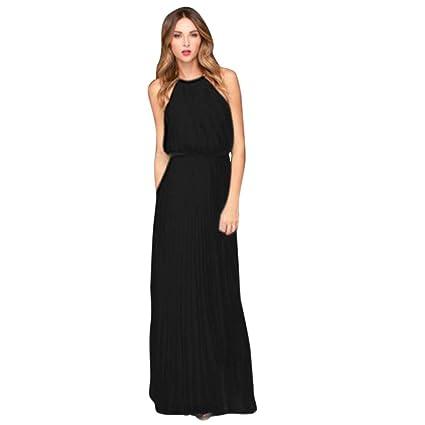 2b2e7e7f0e0d LMMVP Vestidos Mujer Casual,Mujer Formal de Gasa sin Mangas Fiesta de la  Noche de Baile Largo Vestido Maxi (XL, Negro)