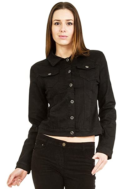 Ana & Lucy Fitted Stretch Denim Jacket - Black at Amazon ...