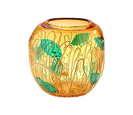 Amazon 12 Hand Blown Art Glass Vase Bowl Amber Green