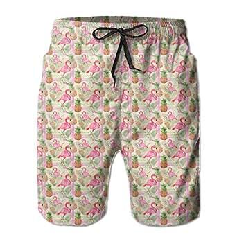 HFSST Yellow Pineapple Pink Flamingo Mens Swim Trunks
