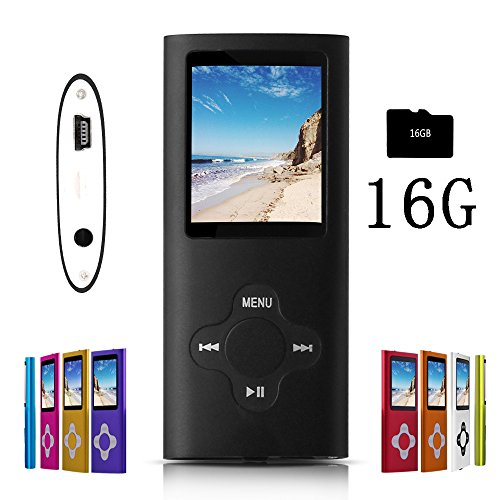 G.G.Martinsen coalblack Stylish MP3/MP4 Player with a 16GB Micro SD Card, Support Photo Viewer, Mini USB Port 1.8 LCD, Digital Music Player, Media Player, MP3 Player, MP4 Player