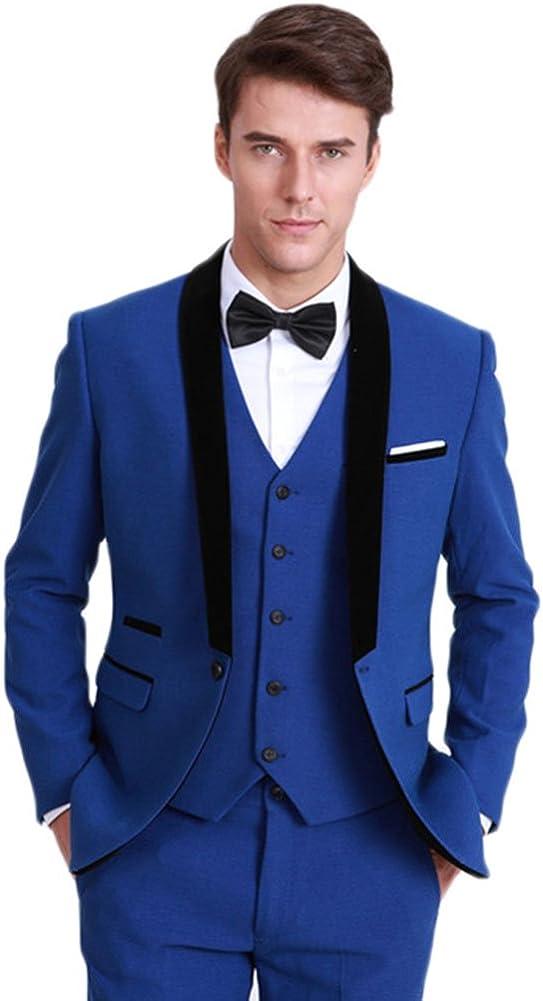 Retro Blue Mens 3 Piece Suits Wedding Suits Slim Fit Groom Tuxedos Prom Blazer Custom Jacket Formal Suits