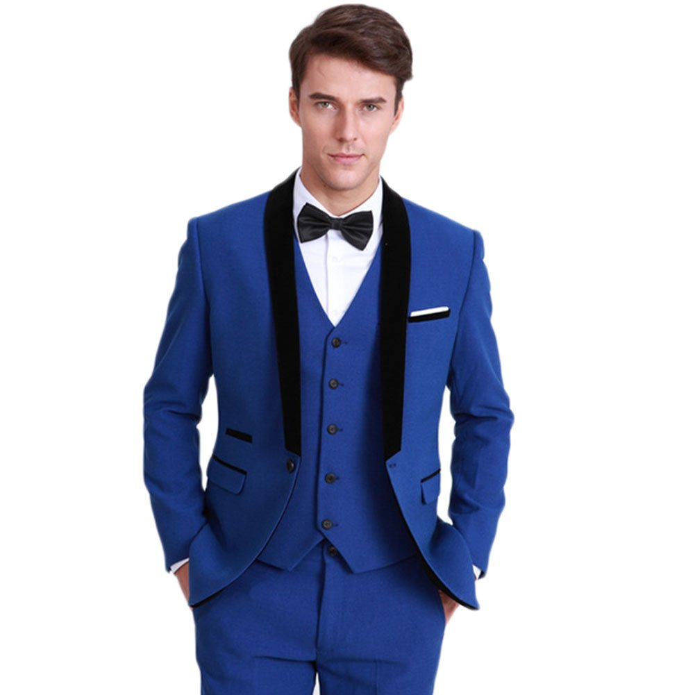 1502fb6d48 Yanlu Royal Blue Mens Wedding Suits 3 Pieces Formal Suit for Men at Amazon  Men s Clothing store