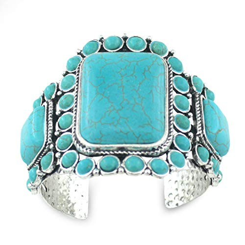 jianxi Women's Antique Rgentium Plated Base Heart Compressed Turquoise Bracelet Cuff Bangle Fashion Jewelry ()