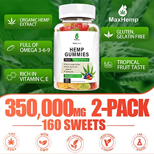 2Pack-Hemp Gummies 350,000 High Potency- 160 Sweets- Anxiety & Stress Relief- 100% Natural Premium Hemp Extracts Infused