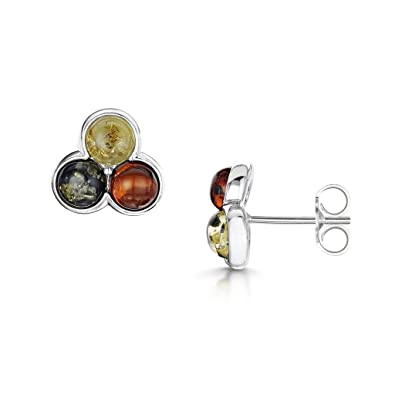 Amberta 925 Sterling Silver with Baltic Amber - Classic Stud Round Earrings hbUkrvrZh