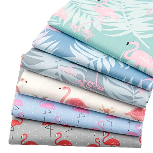 "6pcs 15.7""x19.7"" Flamingo 100% Cotton Fabric for Quilting Patchwork Cushions Pillows Sewing Material Scrapbook Doll Cloth"