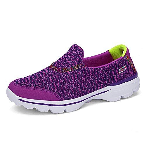 Hasag Zapatos Deportivos de Mujer Antideslizantes Zapatos Planos Suaves Zapatos de Tela Zapatos de Malla Transpirable de Zapatos Purple A1