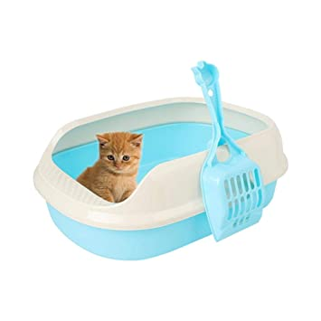 Leo565Tom - Arenero para Gatos con Pala para Mascotas (40 x 29 x 13,5 cm), Color Azul: Amazon.es: Productos para mascotas