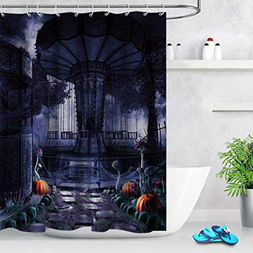 Halloween Carousel Pumpkin (Gothic #90 Halloween Carousel Pumpkin Skull Bathroom Shower Curtain Durable Fabric Mold Proof Bathroom Pendant Creative with 12 Hooks)