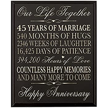 Amazon Parents 45th Wedding Anniversary Wall Plaque Gifts For