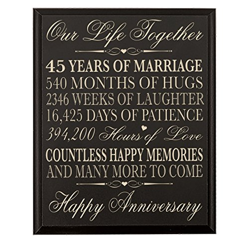 45th Wedding Anniversary Wall Plaque Gifts for Couple, 45th Anniversary Gifts for Her,45th Wedding Anniversary Gifts for Him Wall Plaque Special Dates to Remember By Dayspring Milestones (Black)