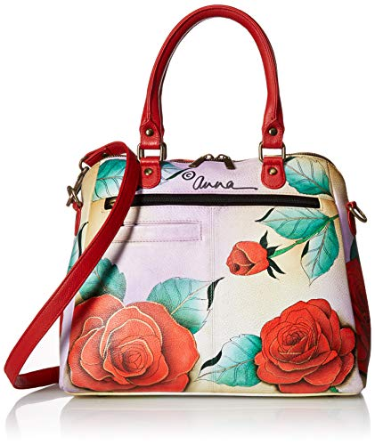 Anuschka Anna Hand Painted Leather Women's Organizer Satchel, romantic rose ()