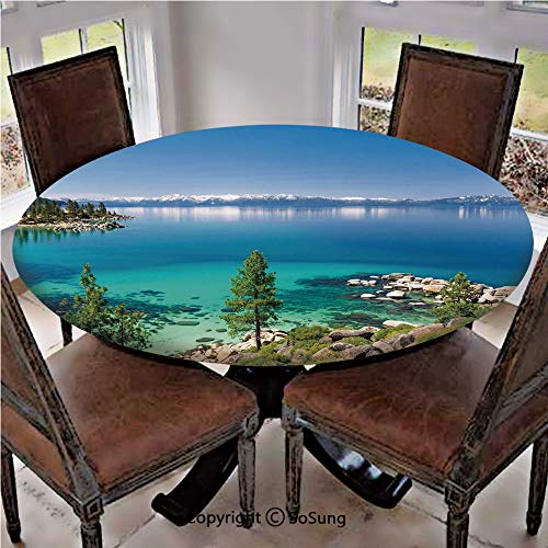 - Elastic Edged Polyester Fitted Table Cover,Tranquil View of Lake Tahoe Sierra Pines on Rocks with Turquoise Waters Shoreline,Fits up to 36