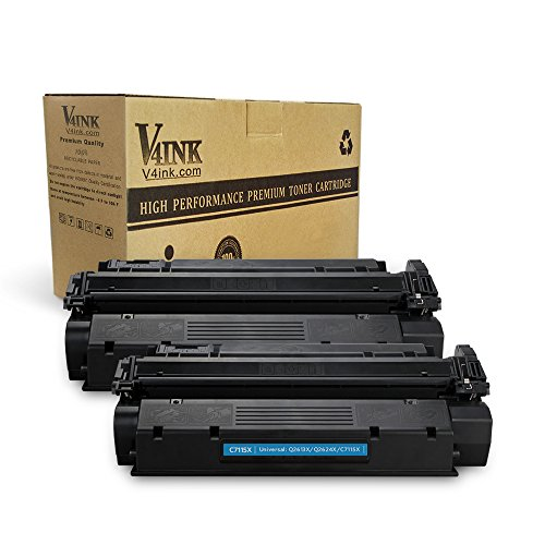 V4INK 2-Pack New Compatible High Yield C7115X Toner Cartridge Replacement for use with HP 15X HP LaserJet 1000 HP LaserJet 1005 1150 HP LaserJet 1200 1300 HP LaserJet 3300 3310 ()