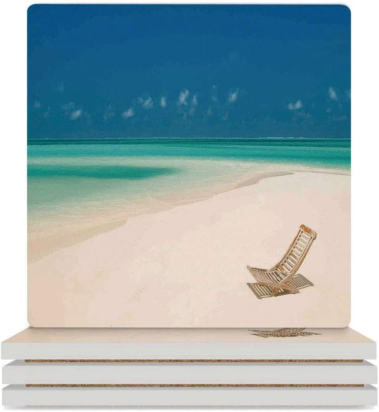 aosup Coaster, Seaside,Deck Chair On A Sandy Tropical Beach, 3.7