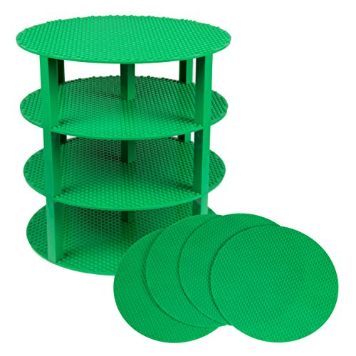 Strictly Briks Classic Stackable 12 Circle Baseplate Brik Tower Building Brick Set   100% Compatible with All Major Brands   4 Base Plates & 30 Stackers   Green