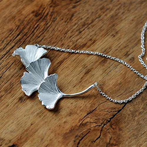Ginkgo Leaf Necklace - Gingko Biloba - Sterling Silver - Nature Inspired Jewelry - Dainty Leaves Pendant