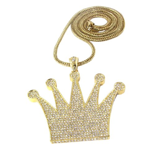 Iced Out Gold King's Crown Pendant Piece w/ 30