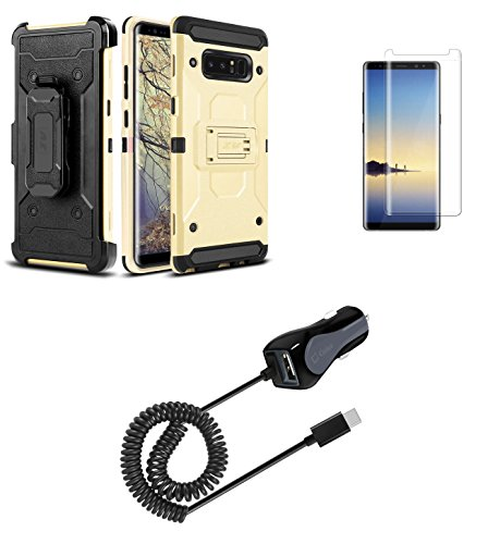 8 - Case Bundle: Heavy Duty [Full Body] Armor Kickstand Case with Holster - (Gold), Screen Protector, [15 Watt / 3 Amp] High Powered USB-C Car Charger (Extra Port), Atom LED ()