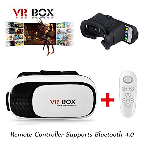 Upgraded 3D VR Glasses Virtual Reality Headset VR BOX 2.0 Goggles Glasses+Remote for iPhone6/SamsungGalaxy/ ios Android smartphone (Epic Mickey Wii Remote compare prices)