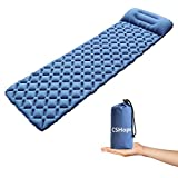 CSHope Sleeping Pad Ultralight Waterproof Self Inflating Sleeping Bag with Attached Pillow for Camping Hiking and Trekking